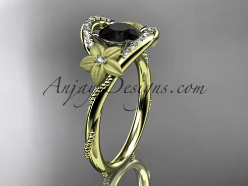 Floral Black Diamond Bridal Gold Rings for Women ADLR166