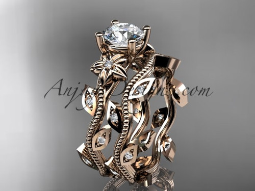 "14k rose gold diamond leaf and vine wedding ring, engagement ring, engagement set with a ""Forever One"" Moissanite center stone ADLR151S"