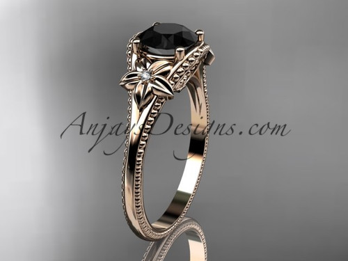Black Diamond center Rose Gold Flower Wedding Ring ADLR375