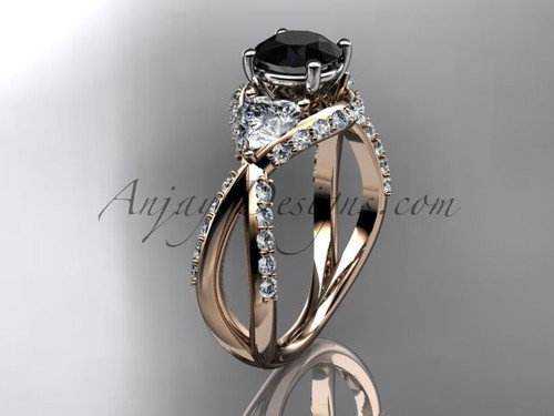 Unique 14kt rose gold diamond wedding ring, engagement ring with a Black Diamond center stone ADLR318