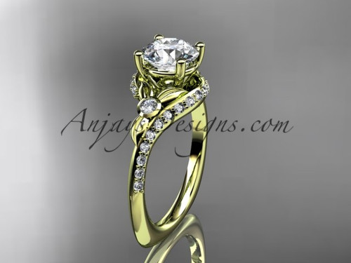 """14kt yellow gold diamond leaf and vine engagement ring with a """"Forever One"""" Moissanite center stone ADLR112"""