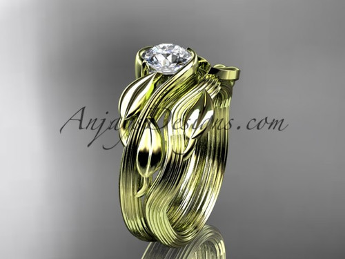 """14kt yellow gold leaf and vine wedding ring, engagement set with a """"Forever One"""" Moissanite center stone ADLR273S"""