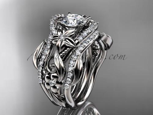 Moissanite Engagement Rings, Platinum Double Band Flower Ring ADLR211s
