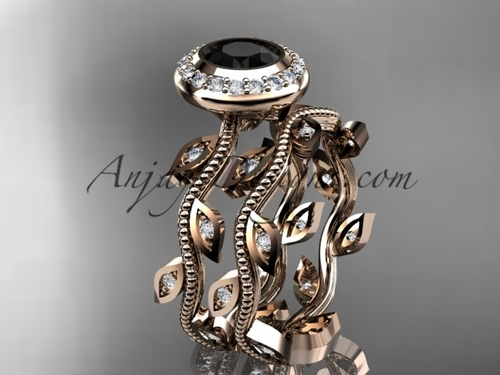 14k rose gold diamond leaf and vine wedding ring, engagement ring, engagement set with a Black Diamond center stone  ADLR212S