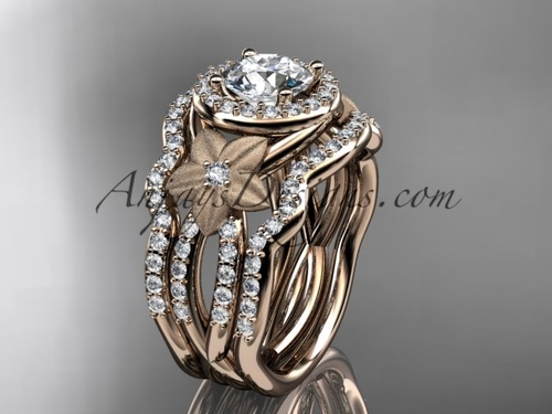14kt rose  gold  diamond floral wedding ring, engagement ring with a double matching band ADLR127S