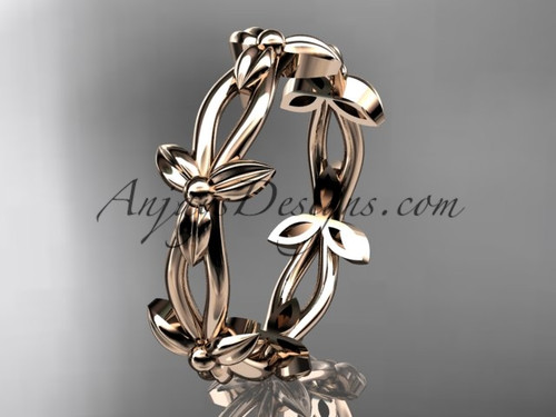 14k rose gold leaf and vine wedding ring, engagement ring ADLR19C