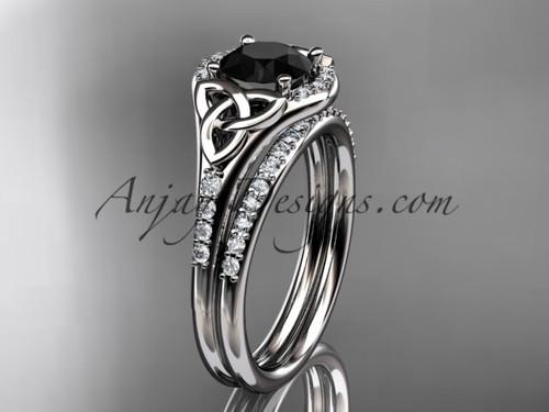 platinum diamond celtic trinity knot wedding ring, engagement set with a Black Diamond center stone CT7126S