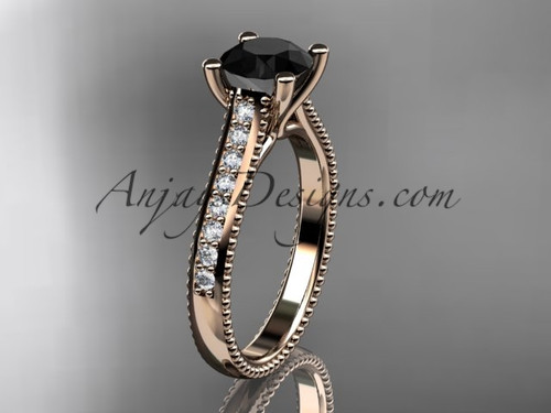14kt rose gold diamond unique engagement ring, wedding ring with a Black Diamond center stone ADER116