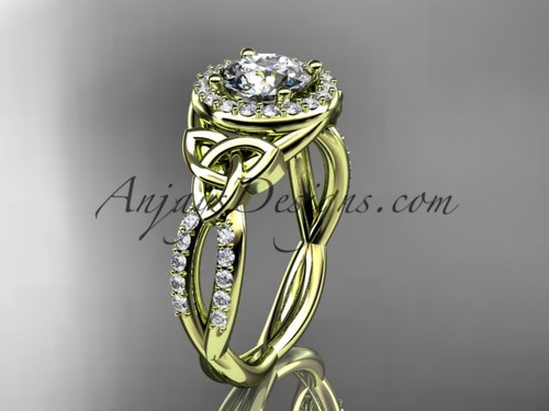 """14kt yellow gold diamond celtic trinity knot wedding ring, engagement ring with a """"Forever One"""" Moissanite center stone CT7127"""