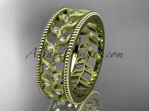 14kt yellow gold diamond leaf and vine wedding ring, engagement ring, wedding band ADLR46B