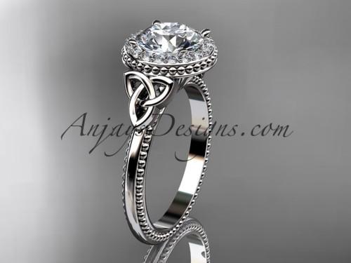 14kt white gold diamond celtic trinity knot wedding ring, engagement ring CT7157