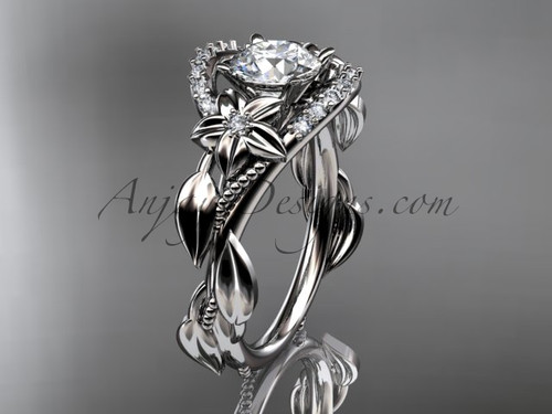 """14kt white gold diamond unique engagement ring, wedding ring with a """"Forever One"""" Moissanite center stone ADLR326"""
