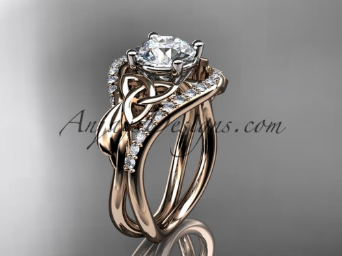 "14kt rose gold diamond celtic trinity knot wedding ring, engagement ring with a ""Forever One"" Moissanite center stone CT7244"