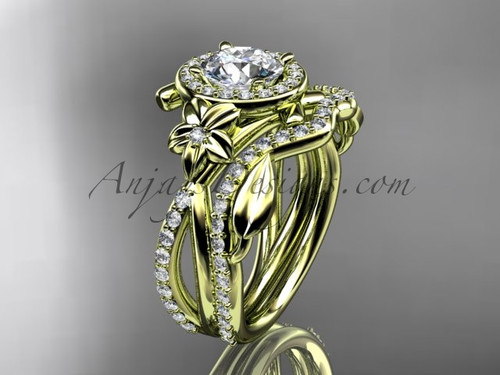 """14kt yellow gold diamond leaf and vine, flower engagement set, wedding set,  with a """"Forever One"""" Moissanite center stone ADLR89S"""
