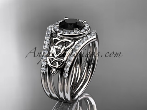 14kt white gold diamond celtic trinity knot wedding ring, engagement ring with a Black Diamond center stone and double matching band CT7131S