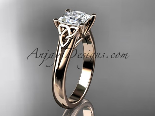 "14kt rose gold celtic trinity knot wedding ring, engagement ring with a Princess cut ""Forever One"" Moissanite center stone CT7143"