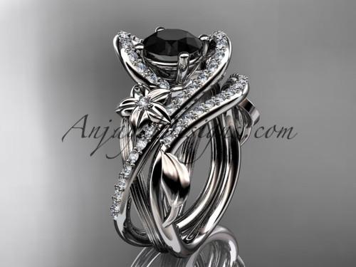 platinum leaf and flower diamond unique engagement set, wedding ring with a Black Diamond center stone ADLR369S