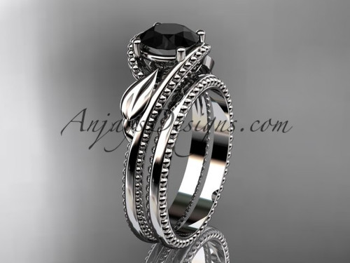 Unique Marriage Ring White Gold Black Diamond Ring ADLR322S