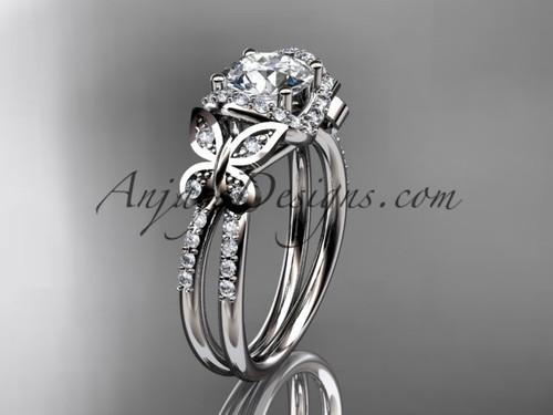 platinum diamond butterfly wedding ring, engagement ring ADLR141