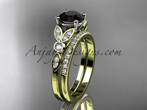 14k yellow gold unique engagement set, wedding ring with a Black Diamond center stone ADLR387S