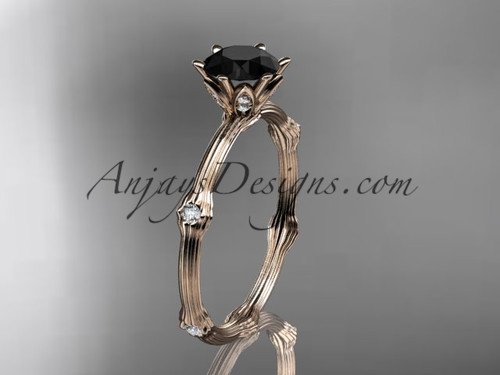 Vine Engagement Ring - Rose Gold Black Diamond Ring ADLR38