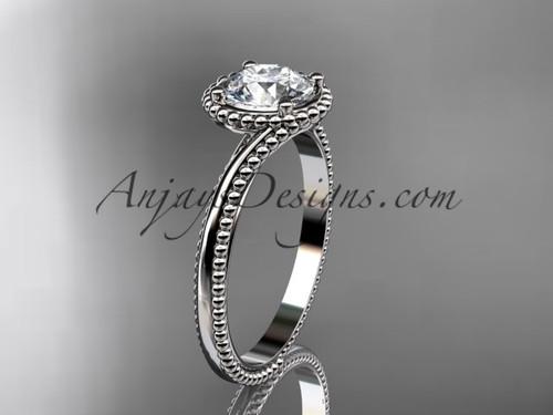14kt white gold  wedding ring, engagement ring ADLR389