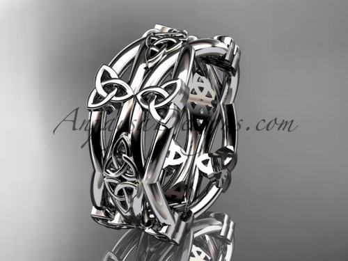 14kt white gold celtic trinity knot wedding band, engagement  ring CT7517G