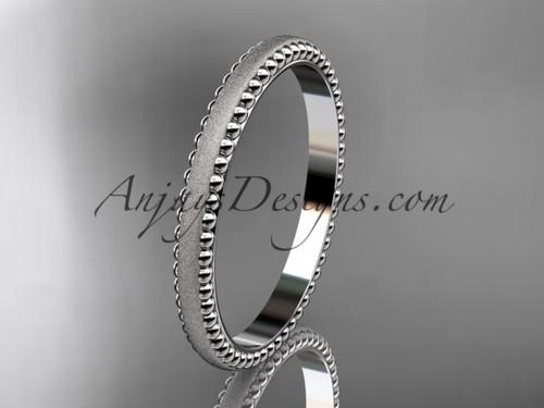 14kt white gold matte finish classic wedding band, engagement ring ADLR384G