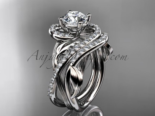 """Unique 14kt white gold diamond leaf and vine wedding set, engagement set with a """"Forever One"""" Moissanite center stone ADLR222S"""