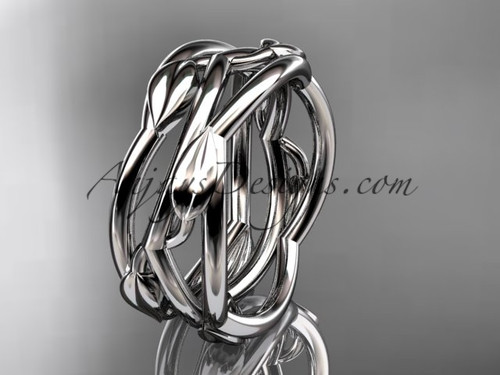 White Gold Vine Wedding Rings Leaf Wedding Band ADLR350G