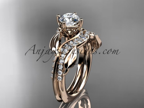 "Unique 14k rose gold diamond  leaf wedding ring, engagement set with a ""Forever One"" Moissanite center stone ADLR225S"