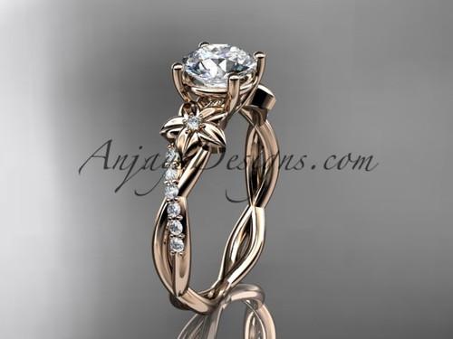 Flower Design Engagement Rings, White Gold Rings ADLR388