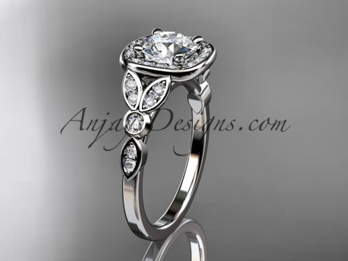 "14kt white gold diamond leaf and vine wedding ring, engagement ring with a ""Forever One"" Moissanite center stone ADLR179"
