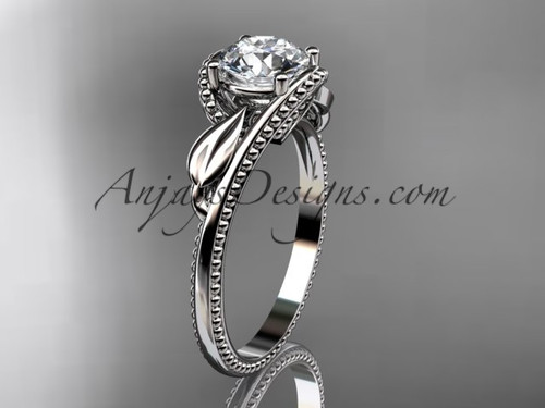 """Unique 14kt white gold engagement ring with a """"Forever One"""" Moissanite center stone ADLR322"""