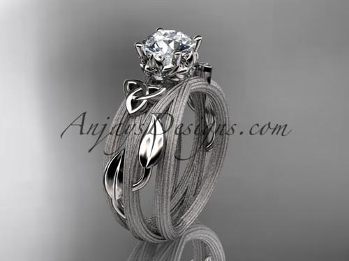 14kt white gold diamond celtic trinity knot wedding ring, engagement ring CT7253
