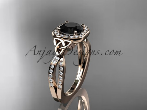 14kt rose gold diamond celtic trinity knot wedding ring, engagement ring with a Black Diamond center stone CT7393