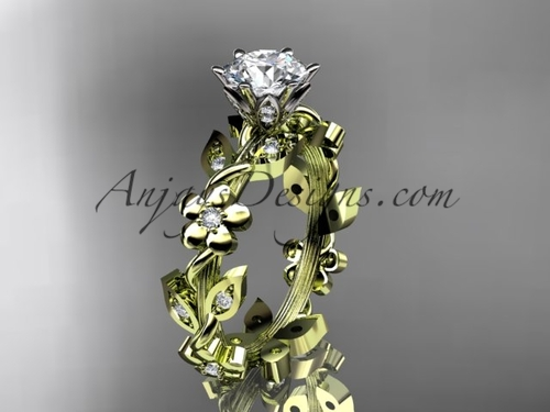 """14kt yellow gold diamond leaf and vine engagement ring with a """"Forever One"""" Moissanite center stone ADLR209"""