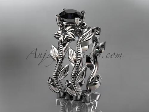 Unique Platinum  floral wedding ring, engagement set with a Black Diamond center stone ADLR238S