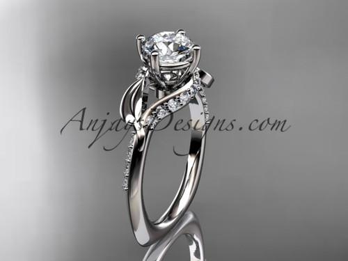 Unique 14k white gold diamond  leaf and vine wedding ring, engagement ring ADLR225