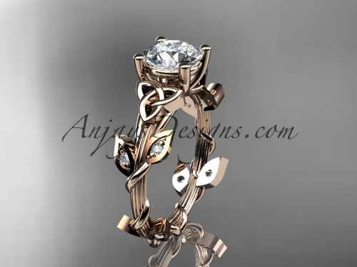 "14kt rose gold diamond celtic trinity knot wedding ring, engagement ring with a ""Forever One"" Moissanite center stone CT7215"