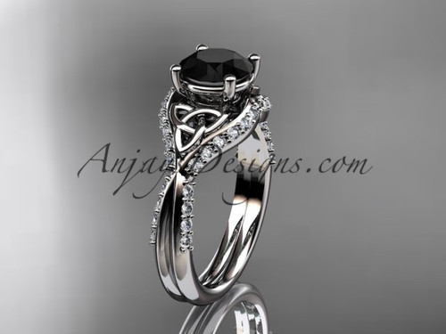 platinum diamond celtic trinity knot wedding ring, engagement ring with a Black Diamond center stone CT7224