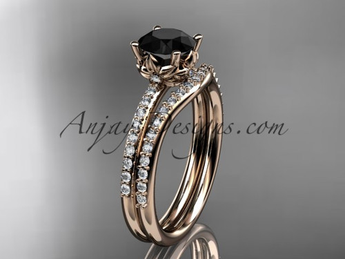 14kt rose gold diamond floral wedding ring, engagement set with a Black Diamond center stone ADLR92S