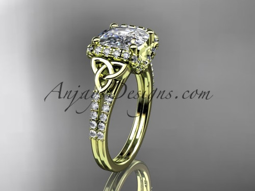 Perfect Diamond Celtic Engagement Ring with Cushion Cut Moissanite center stone CT7148