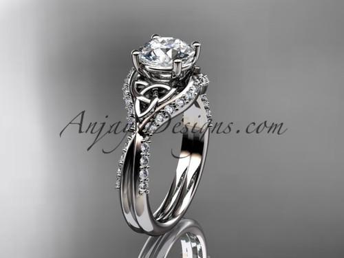 14kt white gold diamond celtic trinity knot wedding ring, engagement ring CT7224