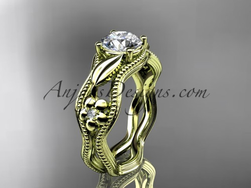 Diamond Engagement Ring Yellow Gold Flower Ring ADLR382
