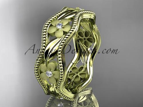 14kt yellow gold diamond flower wedding ring engagement ring wedding band ADLR190B