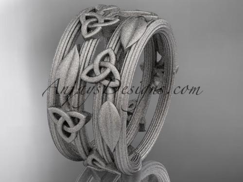 14kt white gold diamond celtic trinity knot matte finish wedding band, engagement ring CT7242B