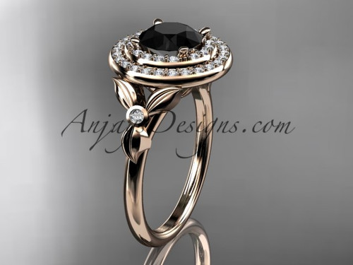 14kt rose gold diamond floral wedding ring, engagement ring with a Black Diamond center stone ADLR133