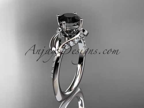 Unique 14k white gold diamond  leaf and vine wedding ring, engagement ring with a Black Diamond center stone ADLR225