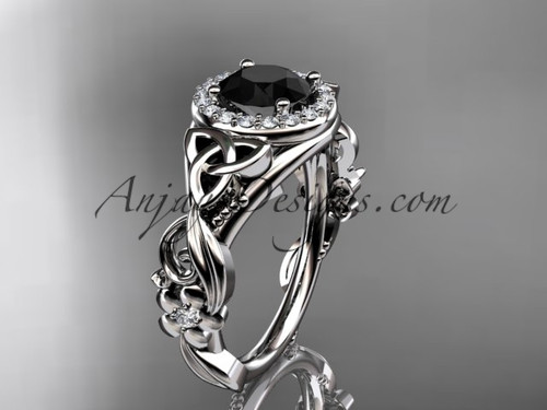 White Gold Black Diamond Flower Halo Engagement Ring CT7300